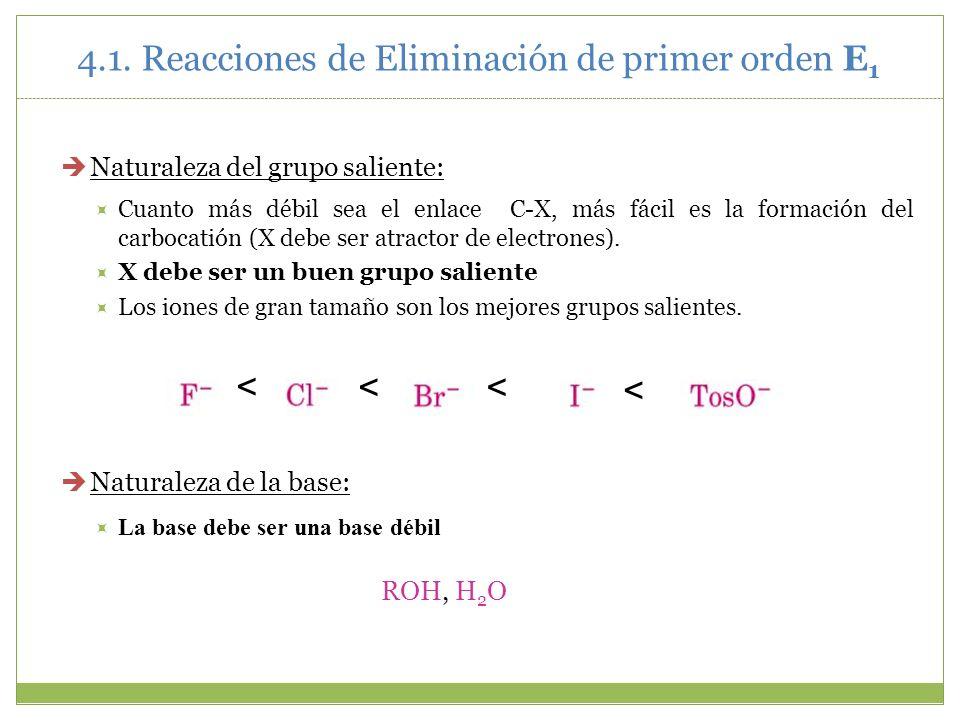Naturaleza del grupo saliente: Cuanto más débil sea el enlace C-X, más fácil es la formación del carbocatión (X debe ser atractor de electrones). X de
