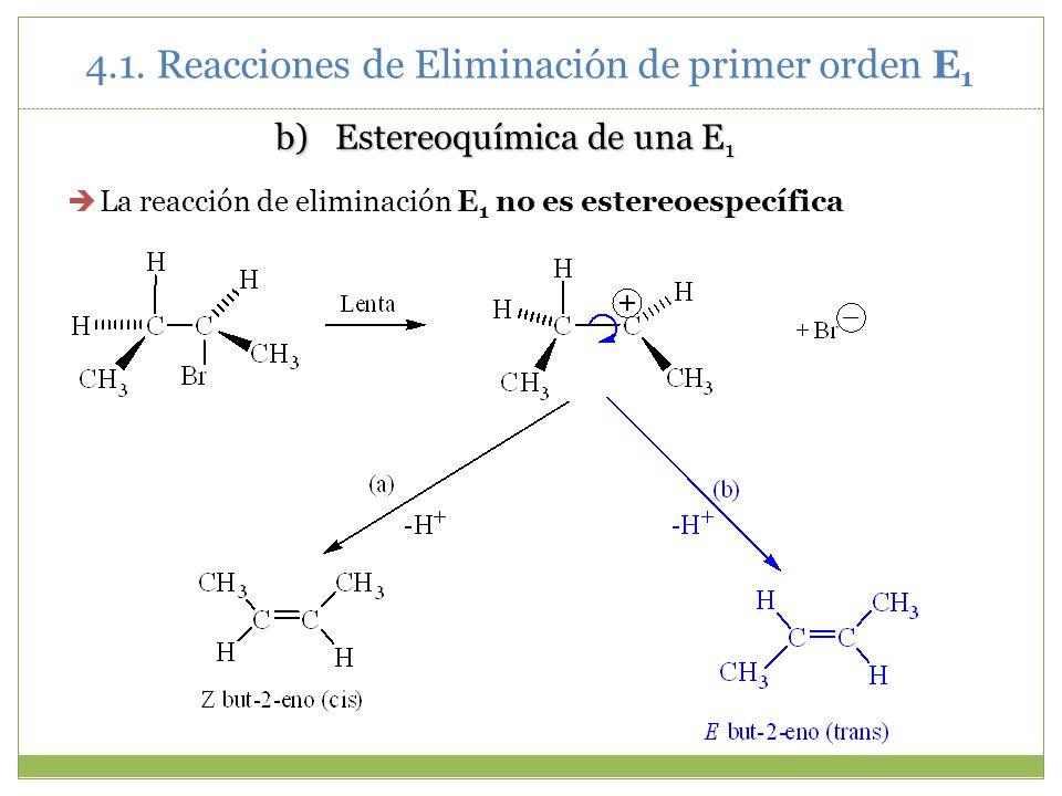 b)Estereoquímica de una E 1 La reacción de eliminación E 1 no es estereoespecífica 4.1. Reacciones de Eliminación de primer orden E 1