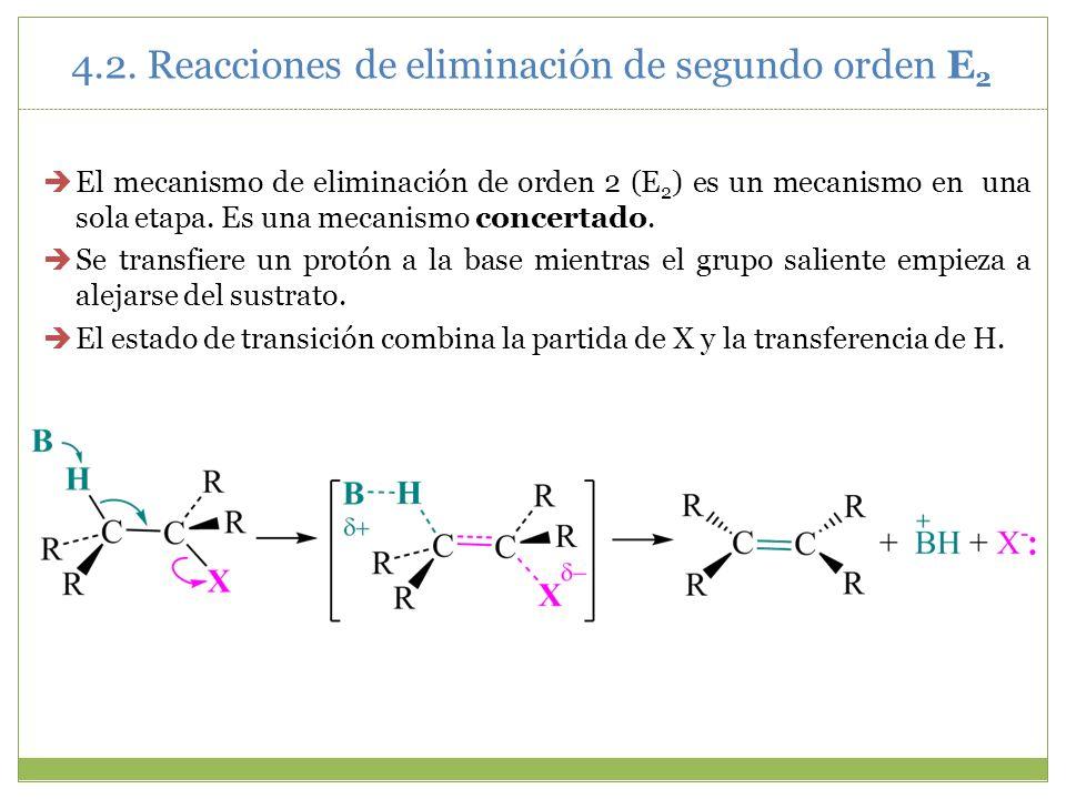4.2. Reacciones de eliminación de segundo orden E 2 El mecanismo de eliminación de orden 2 (E 2 ) es un mecanismo en una sola etapa. Es una mecanismo