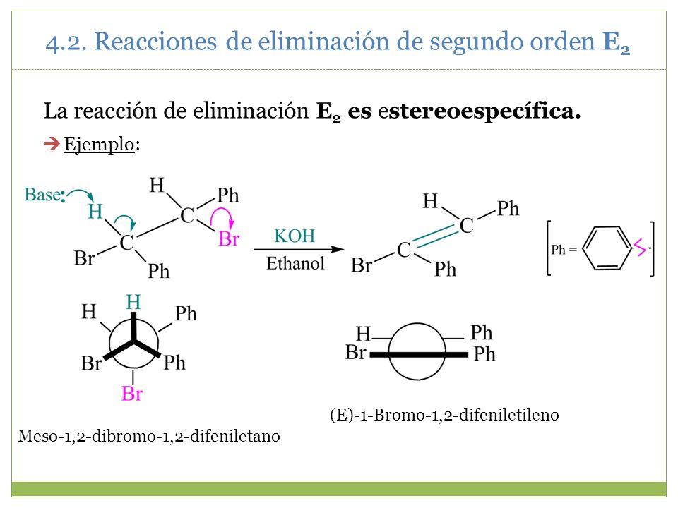 La reacción de eliminación E 2 es estereoespecífica. Ejemplo: Meso-1,2-dibromo-1,2-difeniletano (E)-1-Bromo-1,2-difeniletileno 4.2. Reacciones de elim