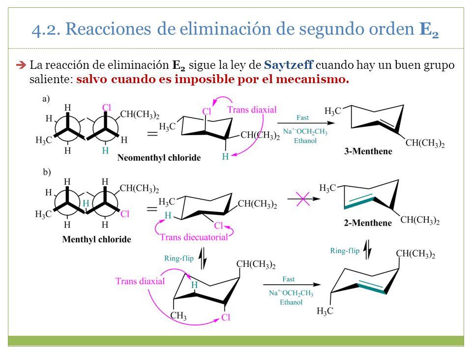 La reacción de eliminación E 2 sigue la ley de Saytzeff cuando hay un buen grupo saliente: salvo cuando es imposible por el mecanismo. 4.2. Reacciones