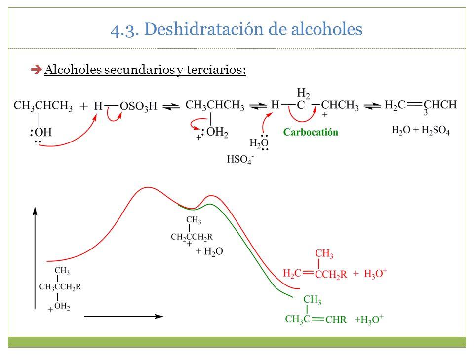 4.3. Deshidratación de alcoholes Alcoholes secundarios y terciarios: