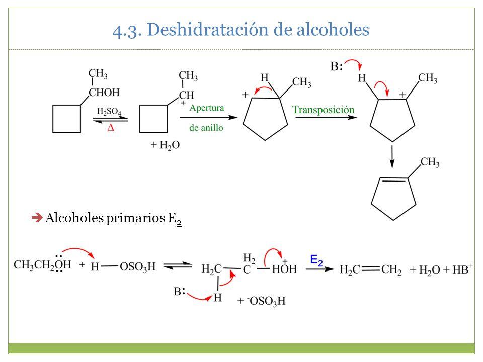 4.3. Deshidratación de alcoholes Alcoholes primarios E 2