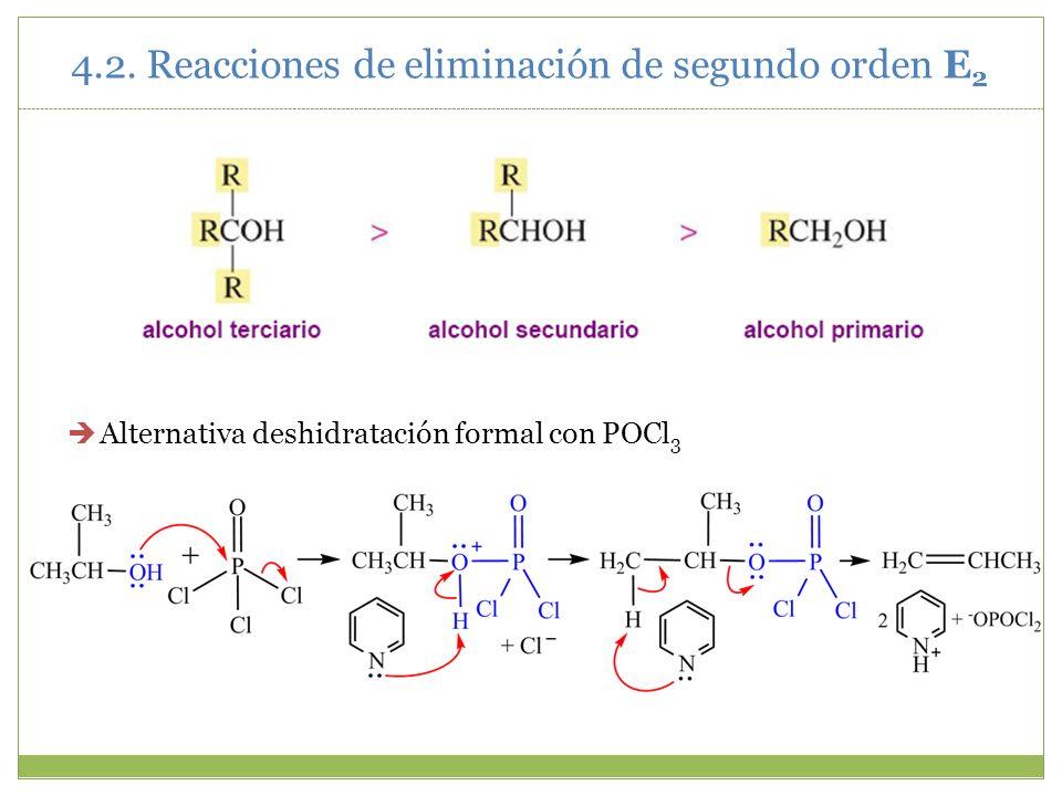 Alternativa deshidratación formal con POCl 3 4.2. Reacciones de eliminación de segundo orden E 2
