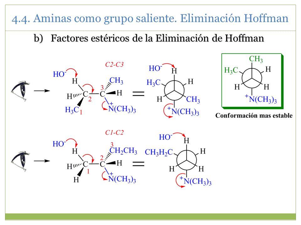 b)Factores estéricos de la Eliminación de Hoffman 4.4. Aminas como grupo saliente. Eliminación Hoffman