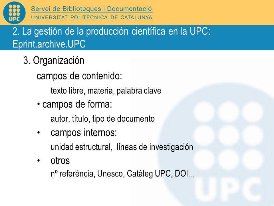 3. Organización campos de contenido: texto libre, materia, palabra clave campos de forma: autor, título, tipo de documento campos internos: unidad est