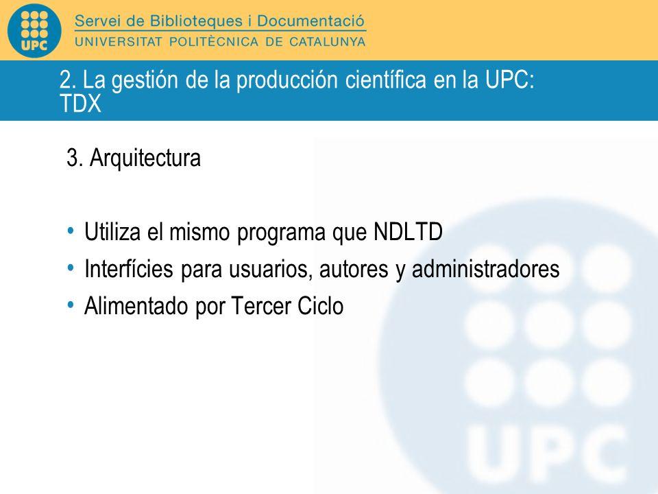 3. Arquitectura Utiliza el mismo programa que NDLTD Interfícies para usuarios, autores y administradores Alimentado por Tercer Ciclo 2. La gestión de