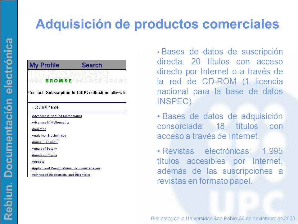Rebiun. Documentación electrónica Adquisición de productos comerciales Biblioteca de la Universidad San Pablo. 30 de noviembre de 2000 Bases de datos