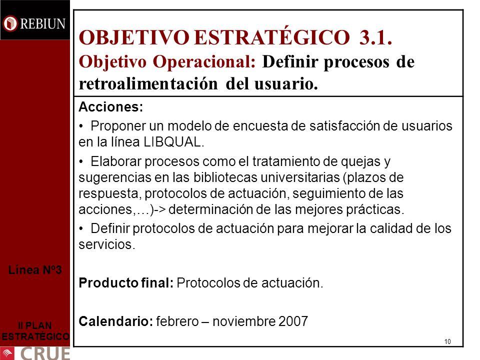 10 Línea Nº3 II PLAN ESTRATÉGICO OBJETIVO ESTRATÉGICO 3.1.