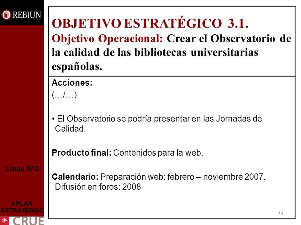 13 Línea Nº3 II PLAN ESTRATÉGICO OBJETIVO ESTRATÉGICO 3.1.