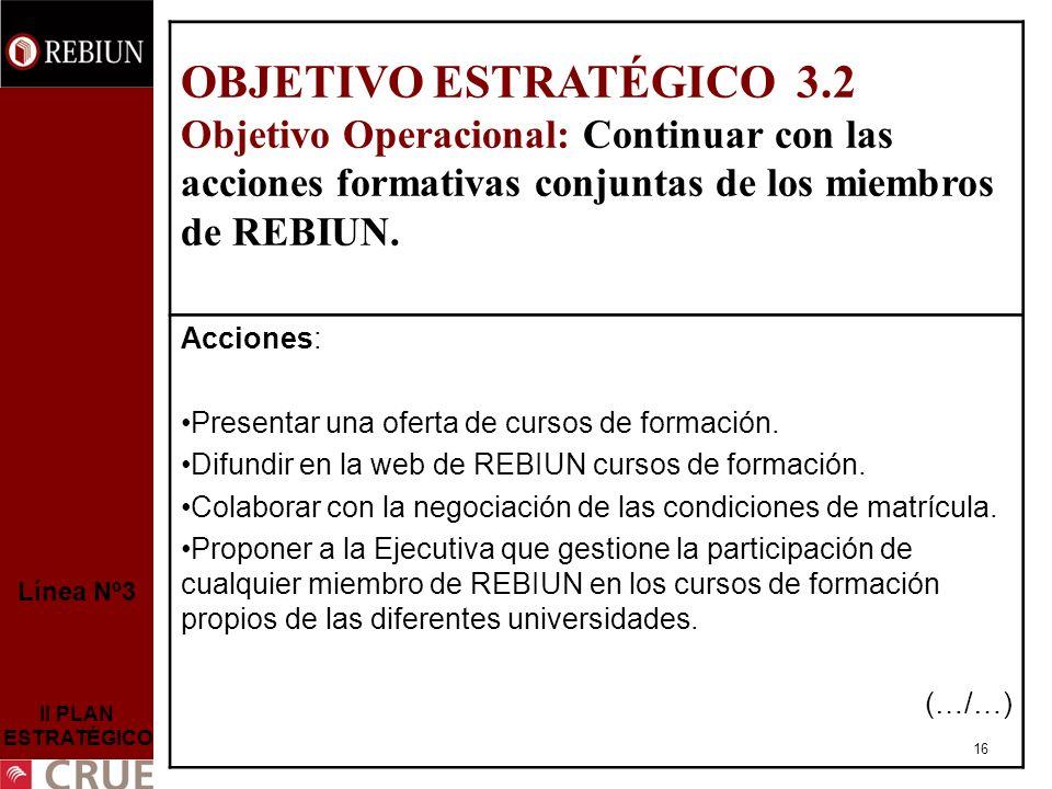 16 Línea Nº3 II PLAN ESTRATÉGICO OBJETIVO ESTRATÉGICO 3.2 Objetivo Operacional: Continuar con las acciones formativas conjuntas de los miembros de REBIUN.