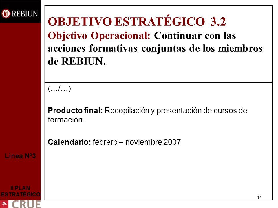 17 Línea Nº3 II PLAN ESTRATÉGICO OBJETIVO ESTRATÉGICO 3.2 Objetivo Operacional: Continuar con las acciones formativas conjuntas de los miembros de REBIUN.