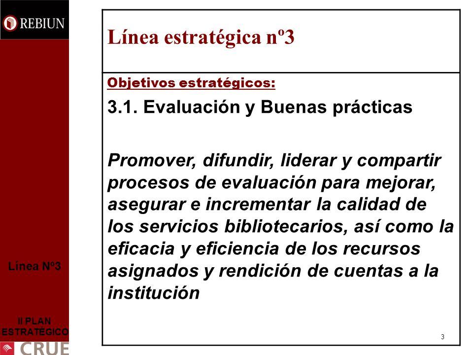 3 Línea Nº3 II PLAN ESTRATÉGICO Línea estratégica nº3 Objetivos estratégicos: 3.1.