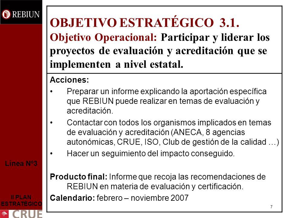 7 Línea Nº3 II PLAN ESTRATÉGICO OBJETIVO ESTRATÉGICO 3.1.