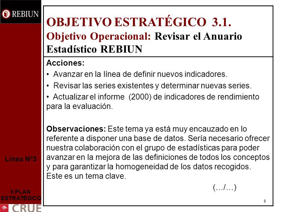 8 Línea Nº3 II PLAN ESTRATÉGICO OBJETIVO ESTRATÉGICO 3.1.