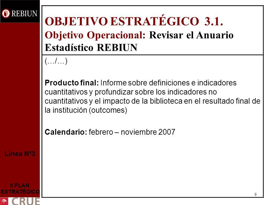 9 Línea Nº3 II PLAN ESTRATÉGICO OBJETIVO ESTRATÉGICO 3.1.