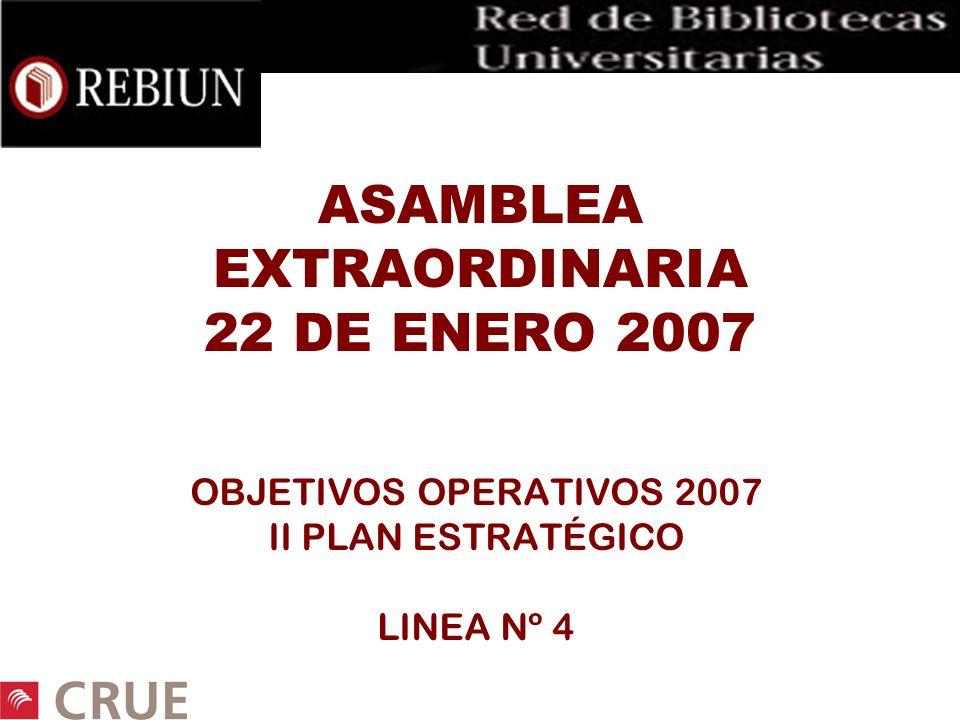 ASAMBLEA EXTRAORDINARIA 22 DE ENERO 2007 OBJETIVOS OPERATIVOS 2007 II PLAN ESTRATÉGICO LINEA Nº 4