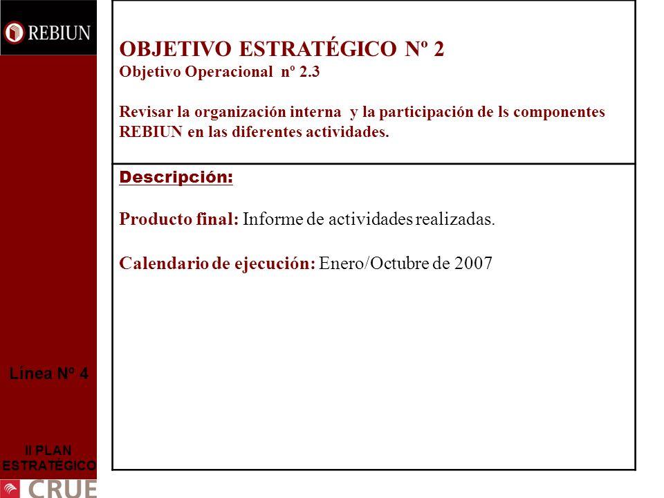 Línea Nº 4 II PLAN ESTRATÉGICO OBJETIVO ESTRATÉGICO Nº 2 Objetivo Operacional nº 2.3 Revisar la organización interna y la participación de ls componen