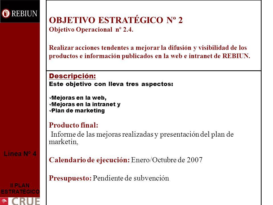 Línea Nº 4 II PLAN ESTRATÉGICO OBJETIVO ESTRATÉGICO Nº 2 Objetivo Operacional nº 2.4. Realizar acciones tendentes a mejorar la difusión y visibilidad