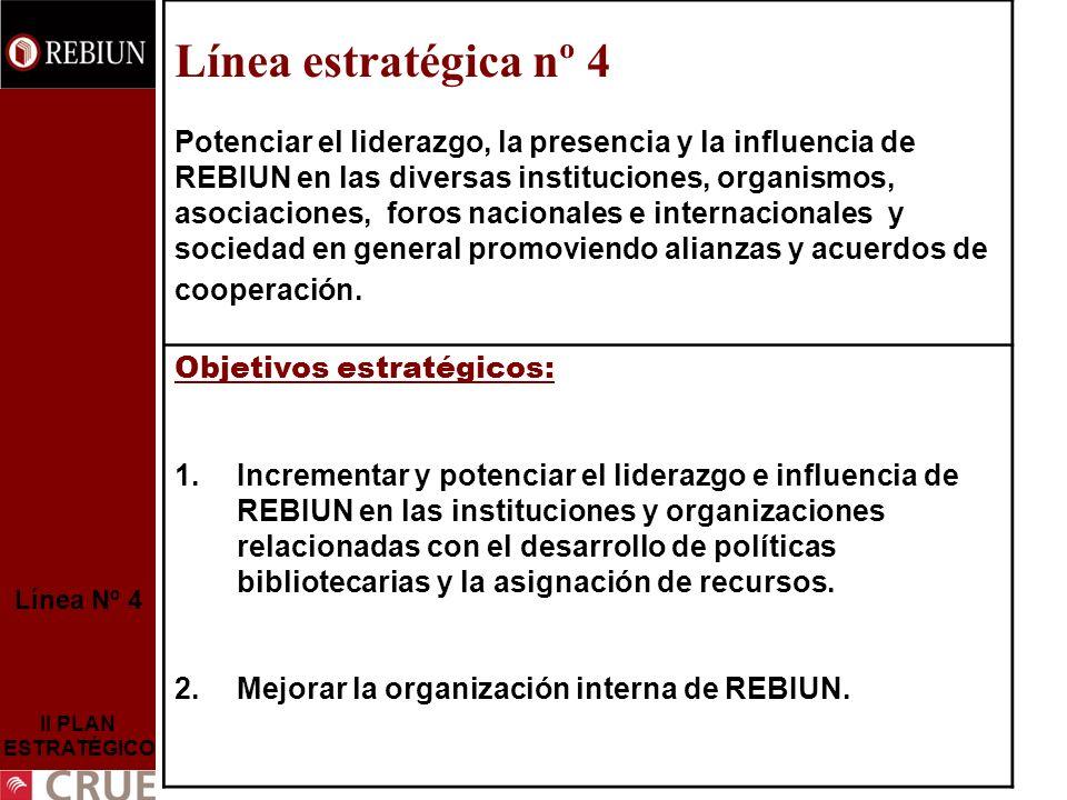 Línea Nº 4 II PLAN ESTRATÉGICO Objetivo Estratégico nº 1 Incrementar y potenciar el liderazgo e influencia de REBIUN en las instituciones y organizaciones relacionadas con el desarrollo de políticas bibliotecarias y la asignación de recursos.