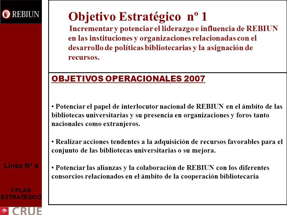 Línea Nº 4 II PLAN ESTRATÉGICO Objetivo Estratégico nº 1 Incrementar y potenciar el liderazgo e influencia de REBIUN en las instituciones y organizaci