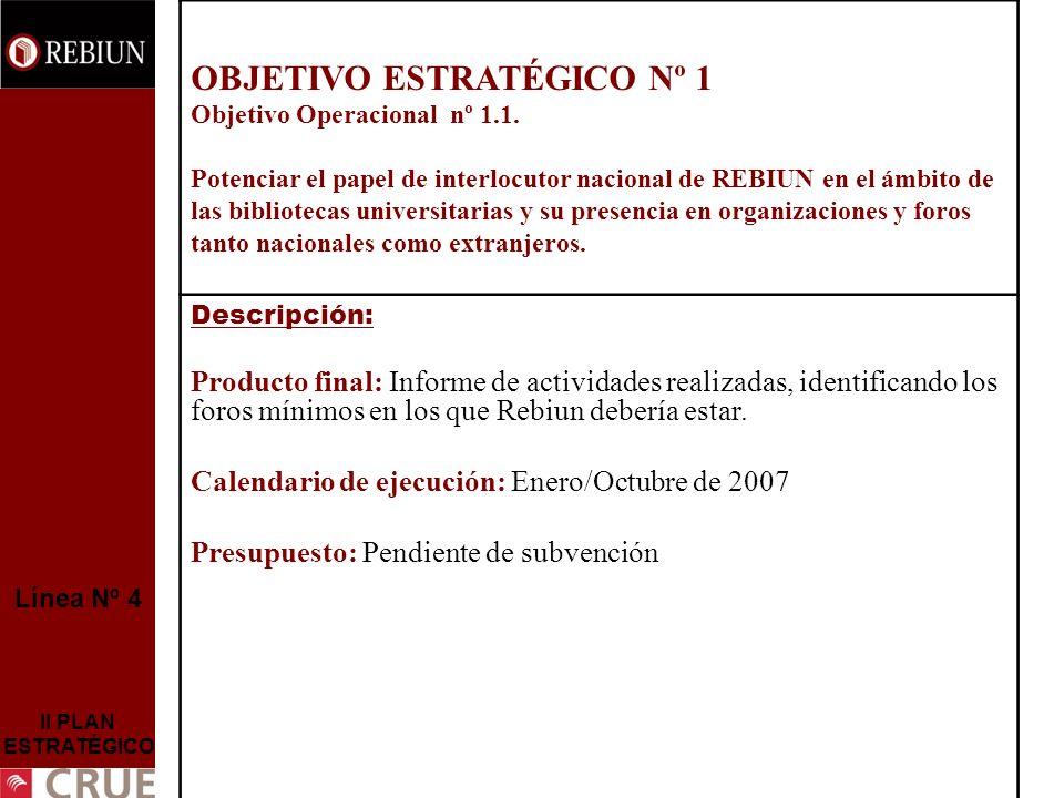 Línea Nº 4 II PLAN ESTRATÉGICO OBJETIVO ESTRATÉGICO Nº 1 Objetivo Operacional nº 1.1. Potenciar el papel de interlocutor nacional de REBIUN en el ámbi