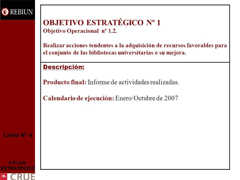 Línea Nº 4 II PLAN ESTRATÉGICO OBJETIVO ESTRATÉGICO Nº 1 Objetivo Operacional nº 1.2. Realizar acciones tendentes a la adquisición de recursos favorab