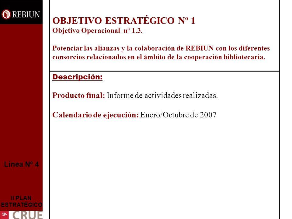 Línea Nº 4 II PLAN ESTRATÉGICO OBJETIVO ESTRATÉGICO Nº 1 Objetivo Operacional nº 1.3. Potenciar las alianzas y la colaboración de REBIUN con los difer