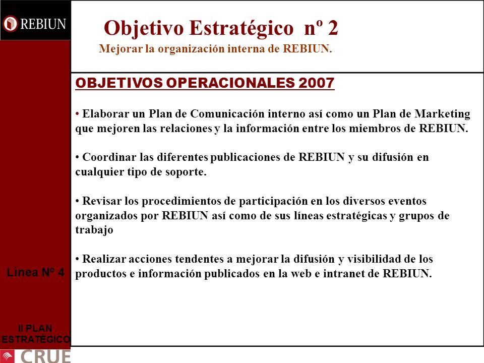 Línea Nº 4 II PLAN ESTRATÉGICO Objetivo Estratégico nº 2 Mejorar la organización interna de REBIUN. OBJETIVOS OPERACIONALES 2007 Elaborar un Plan de C