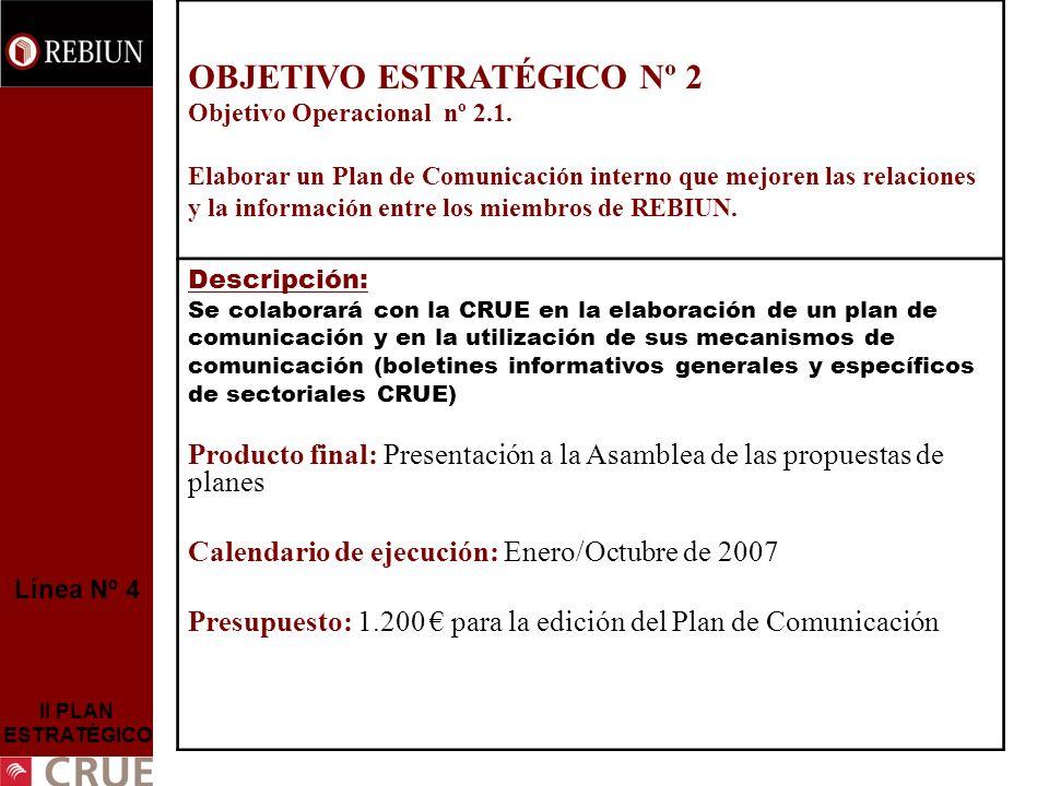 Línea Nº 4 II PLAN ESTRATÉGICO OBJETIVO ESTRATÉGICO Nº 2 Objetivo Operacional nº 2.1. Elaborar un Plan de Comunicación interno que mejoren las relacio