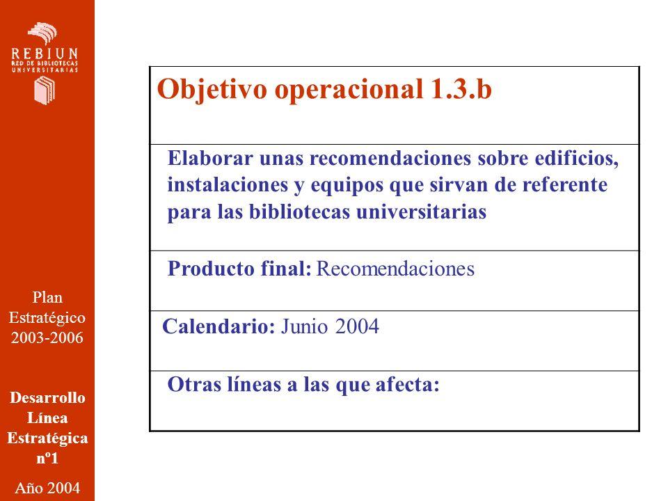 Plan Estratégico 2003-2006 Desarrollo Línea Estratégica nº1 Año 2004 Objetivo operacional 1.3.b Elaborar unas recomendaciones sobre edificios, instalaciones y equipos que sirvan de referente para las bibliotecas universitarias Producto final: Recomendaciones Calendario: Junio 2004 Otras líneas a las que afecta:
