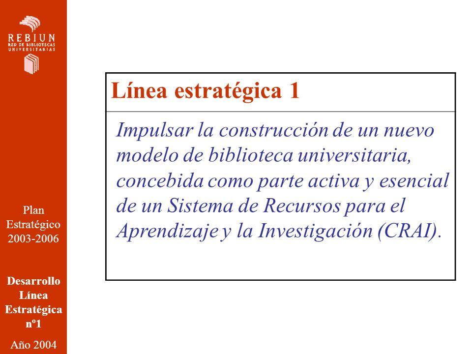 Línea estratégica 1 Plan Estratégico 2003-2006 Desarrollo Línea Estratégica nº1 Año 2004 Impulsar la construcción de un nuevo modelo de biblioteca universitaria, concebida como parte activa y esencial de un Sistema de Recursos para el Aprendizaje y la Investigación (CRAI).