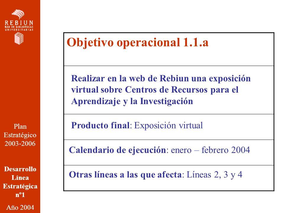 Plan Estratégico 2003-2006 Desarrollo Línea Estratégica nº1 Año 2004 Objetivo operacional 1.1.a Realizar en la web de Rebiun una exposición virtual sobre Centros de Recursos para el Aprendizaje y la Investigación Producto final: Exposición virtual Calendario de ejecución: enero – febrero 2004 Otras líneas a las que afecta: Líneas 2, 3 y 4