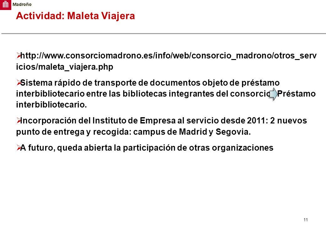 11 Actividad: Maleta Viajera http://www.consorciomadrono.es/info/web/consorcio_madrono/otros_serv icios/maleta_viajera.php Sistema rápido de transport