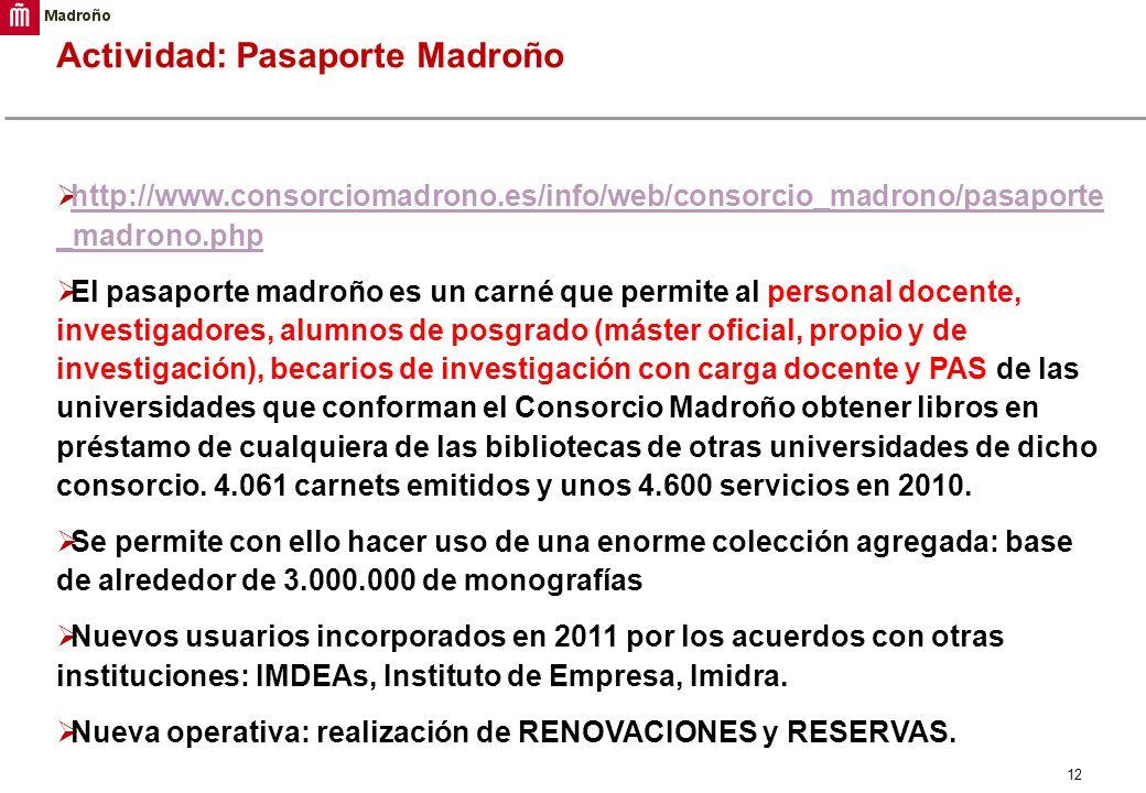 12 Actividad: Pasaporte Madroño http://www.consorciomadrono.es/info/web/consorcio_madrono/pasaporte _madrono.php http://www.consorciomadrono.es/info/w