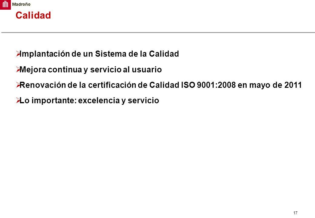 17 Calidad Implantación de un Sistema de la Calidad Mejora continua y servicio al usuario Renovación de la certificación de Calidad ISO 9001:2008 en m