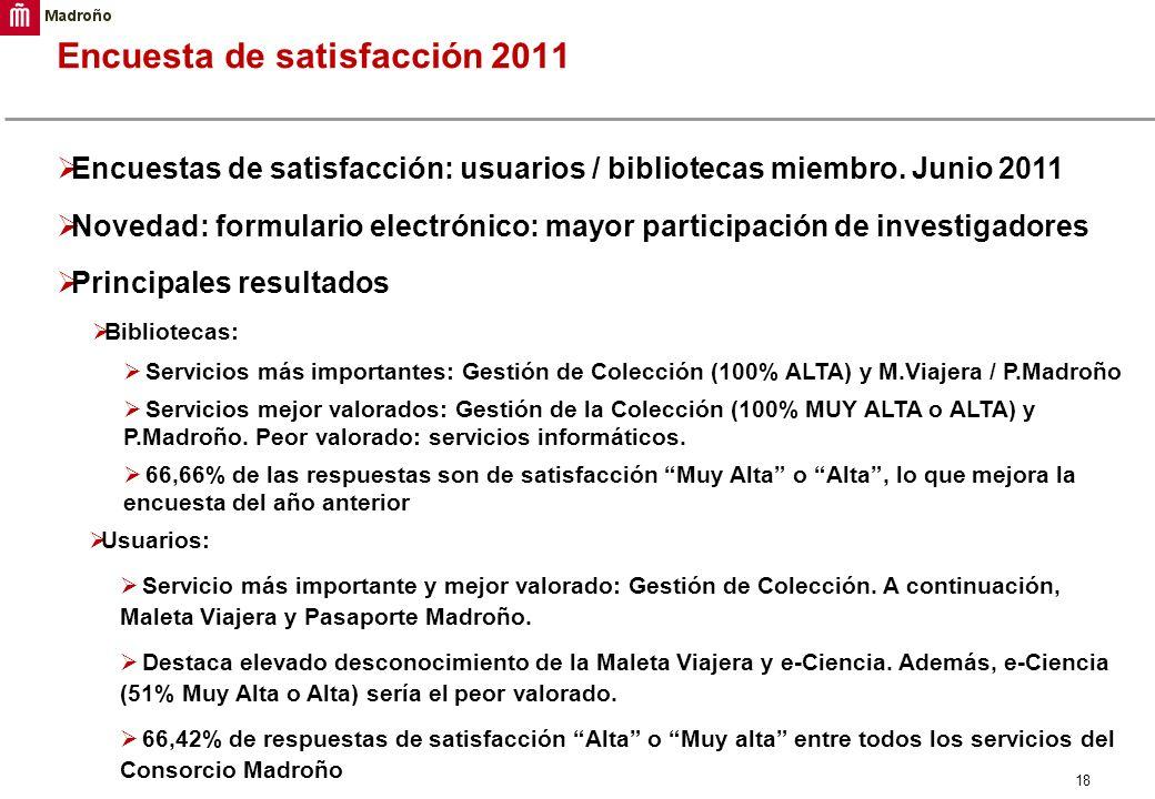 18 Encuesta de satisfacción 2011 Encuestas de satisfacción: usuarios / bibliotecas miembro. Junio 2011 Novedad: formulario electrónico: mayor particip