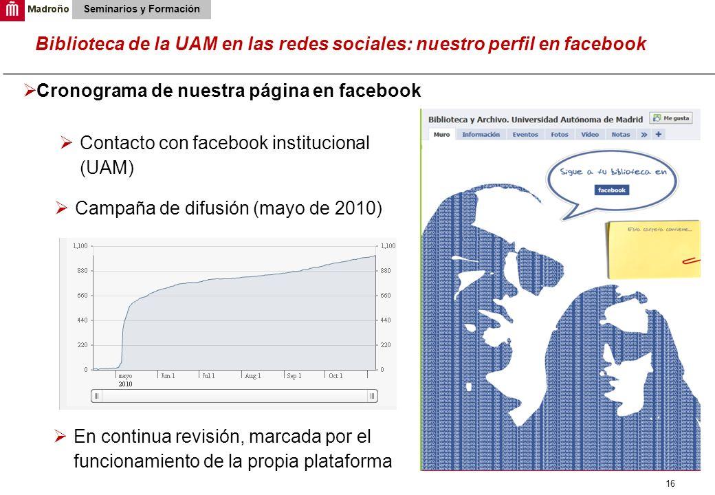 16 Biblioteca de la UAM en las redes sociales: nuestro perfil en facebook Seminarios y Formación Cronograma de nuestra página en facebook Contacto con