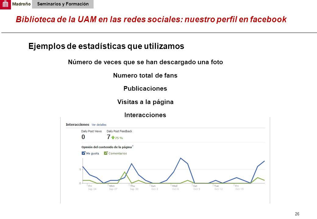 26 Biblioteca de la UAM en las redes sociales: nuestro perfil en facebook Seminarios y Formación Ejemplos de estadísticas que utilizamos Número de vec