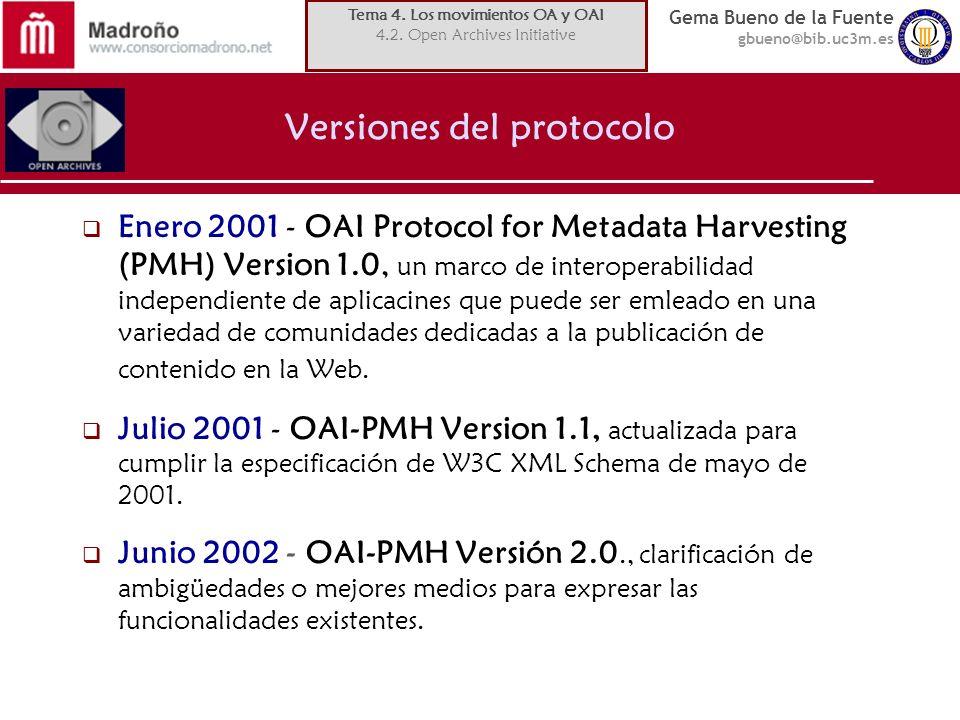Gema Bueno de la Fuente gbueno@bib.uc3m.es Versiones del protocolo Enero 2001 - OAI Protocol for Metadata Harvesting (PMH) Version 1.0, un marco de interoperabilidad independiente de aplicacines que puede ser emleado en una variedad de comunidades dedicadas a la publicación de contenido en la Web.