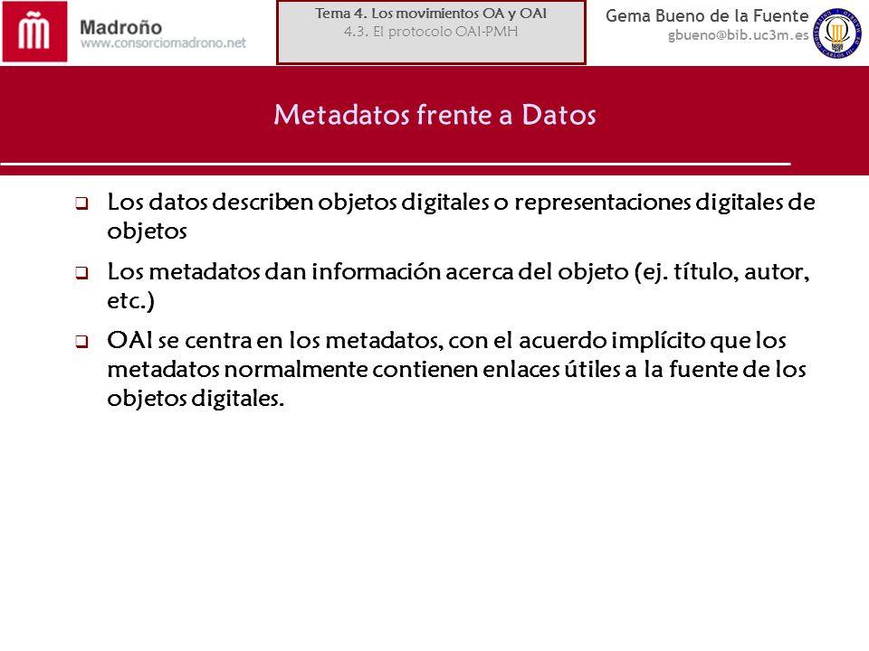 Gema Bueno de la Fuente gbueno@bib.uc3m.es Metadatos frente a Datos Los datos describen objetos digitales o representaciones digitales de objetos Los metadatos dan información acerca del objeto (ej.