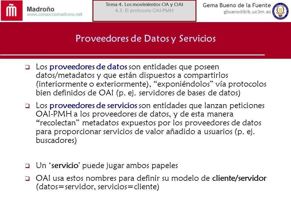 Gema Bueno de la Fuente gbueno@bib.uc3m.es Proveedores de Datos y Servicios Los proveedores de datos son entidades que poseen datos/metadatos y que es