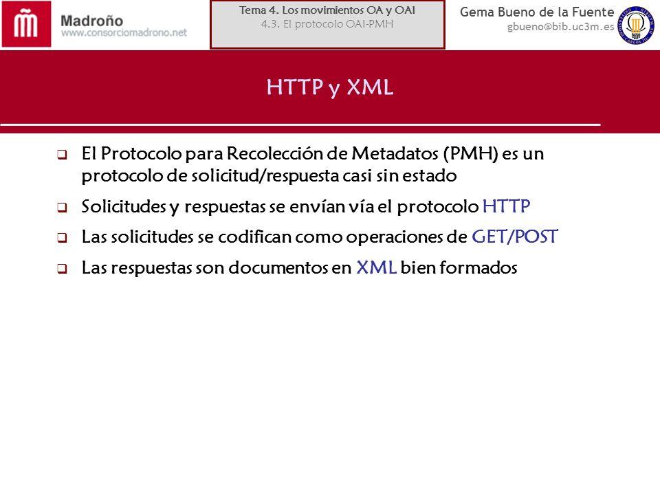 Gema Bueno de la Fuente gbueno@bib.uc3m.es HTTP y XML El Protocolo para Recolección de Metadatos (PMH) es un protocolo de solicitud/respuesta casi sin estado Solicitudes y respuestas se envían vía el protocolo HTTP Las solicitudes se codifican como operaciones de GET/POST Las respuestas son documentos en XML bien formados Tema 4.