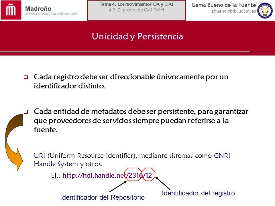 Gema Bueno de la Fuente gbueno@bib.uc3m.es Unicidad y Persistencia Cada registro debe ser direccionable únivocamente por un identificador distinto. Ca
