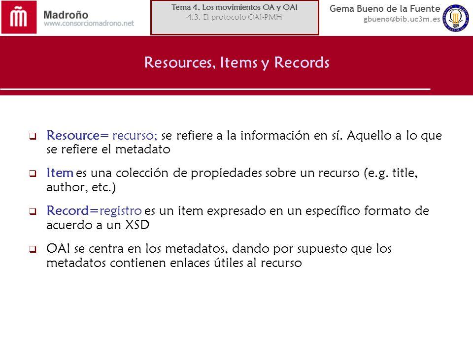 Gema Bueno de la Fuente gbueno@bib.uc3m.es Resources, Items y Records Resource= recurso; se refiere a la información en sí.