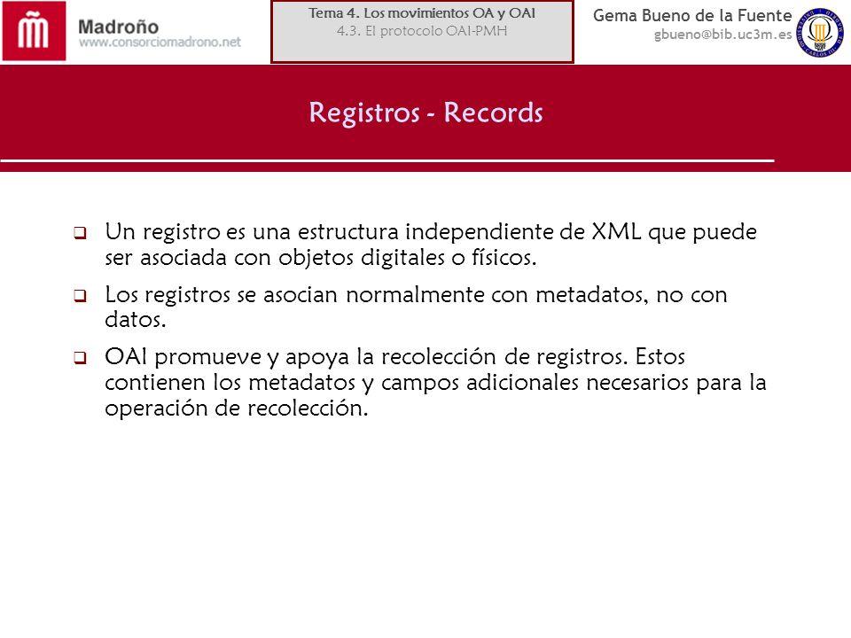 Gema Bueno de la Fuente gbueno@bib.uc3m.es Registros - Records Un registro es una estructura independiente de XML que puede ser asociada con objetos digitales o físicos.