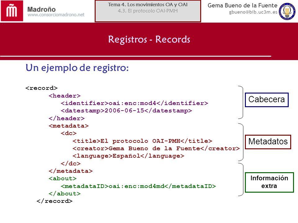 Gema Bueno de la Fuente gbueno@bib.uc3m.es Registros - Records Un ejemplo de registro: oai:enc:mod4 2006-06-15 El protocolo OAI-PMH Gema Bueno de la F