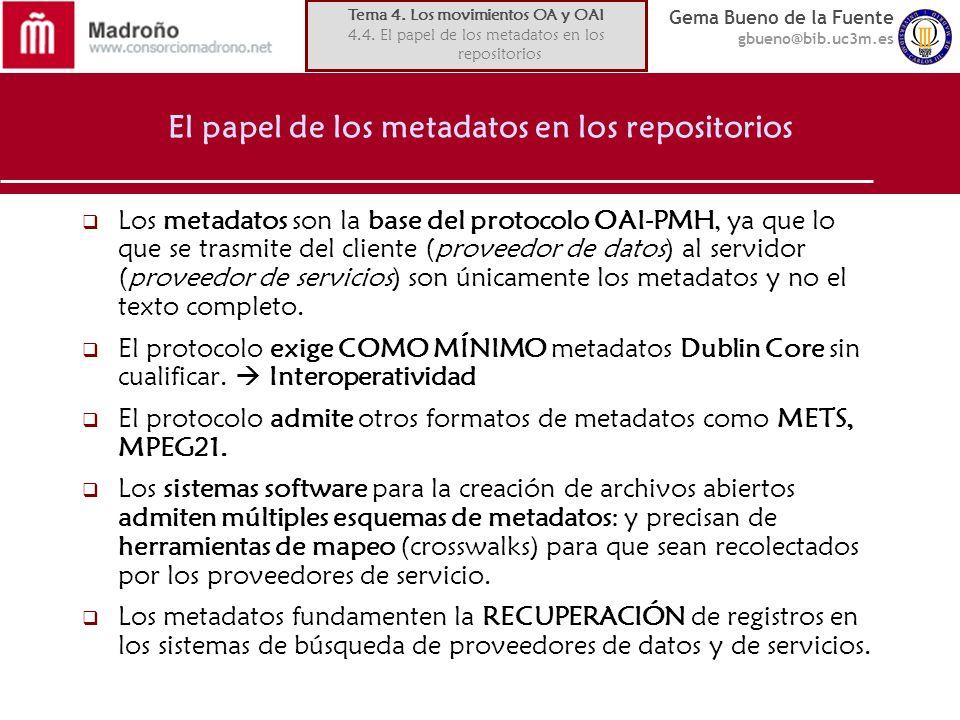 Gema Bueno de la Fuente gbueno@bib.uc3m.es El papel de los metadatos en los repositorios Los metadatos son la base del protocolo OAI-PMH, ya que lo que se trasmite del cliente (proveedor de datos) al servidor (proveedor de servicios) son únicamente los metadatos y no el texto completo.