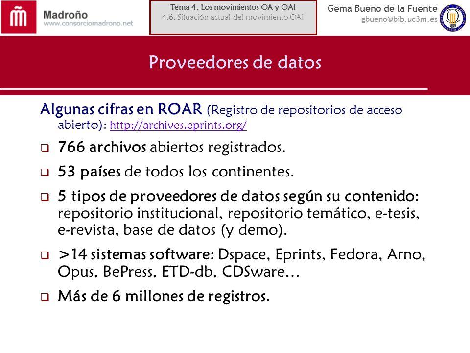 Gema Bueno de la Fuente gbueno@bib.uc3m.es Proveedores de datos Algunas cifras en ROAR (Registro de repositorios de acceso abierto) : http://archives.eprints.org/http://archives.eprints.org/ 766 archivos abiertos registrados.