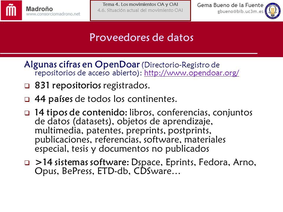 Gema Bueno de la Fuente gbueno@bib.uc3m.es Proveedores de datos Algunas cifras en OpenDoar (Directorio-Registro de repositorios de acceso abierto): ht